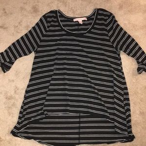 High low stripped shirt